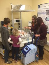 Demonstrating NICU equipment to future scientists