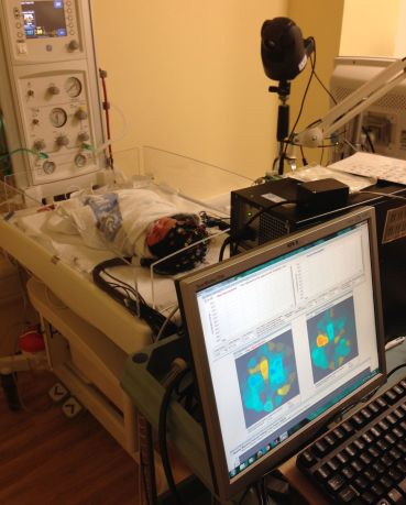 Set up of optical-EEG scan in a healthy infant in the Evelyn Perinatal Imaging Centre